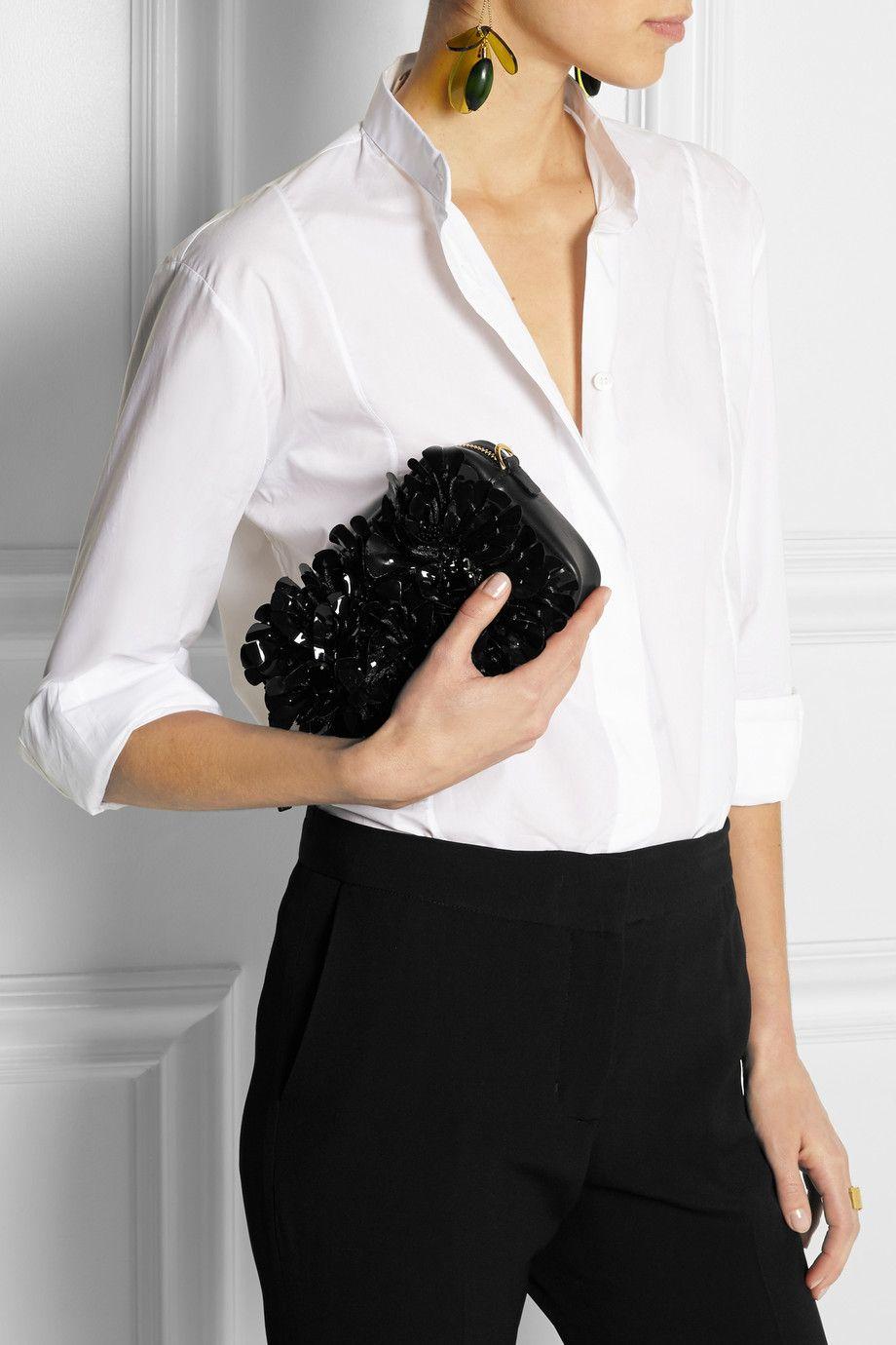 Marni|Embellished leather shoulder bag|NET-A-PORTER.COM