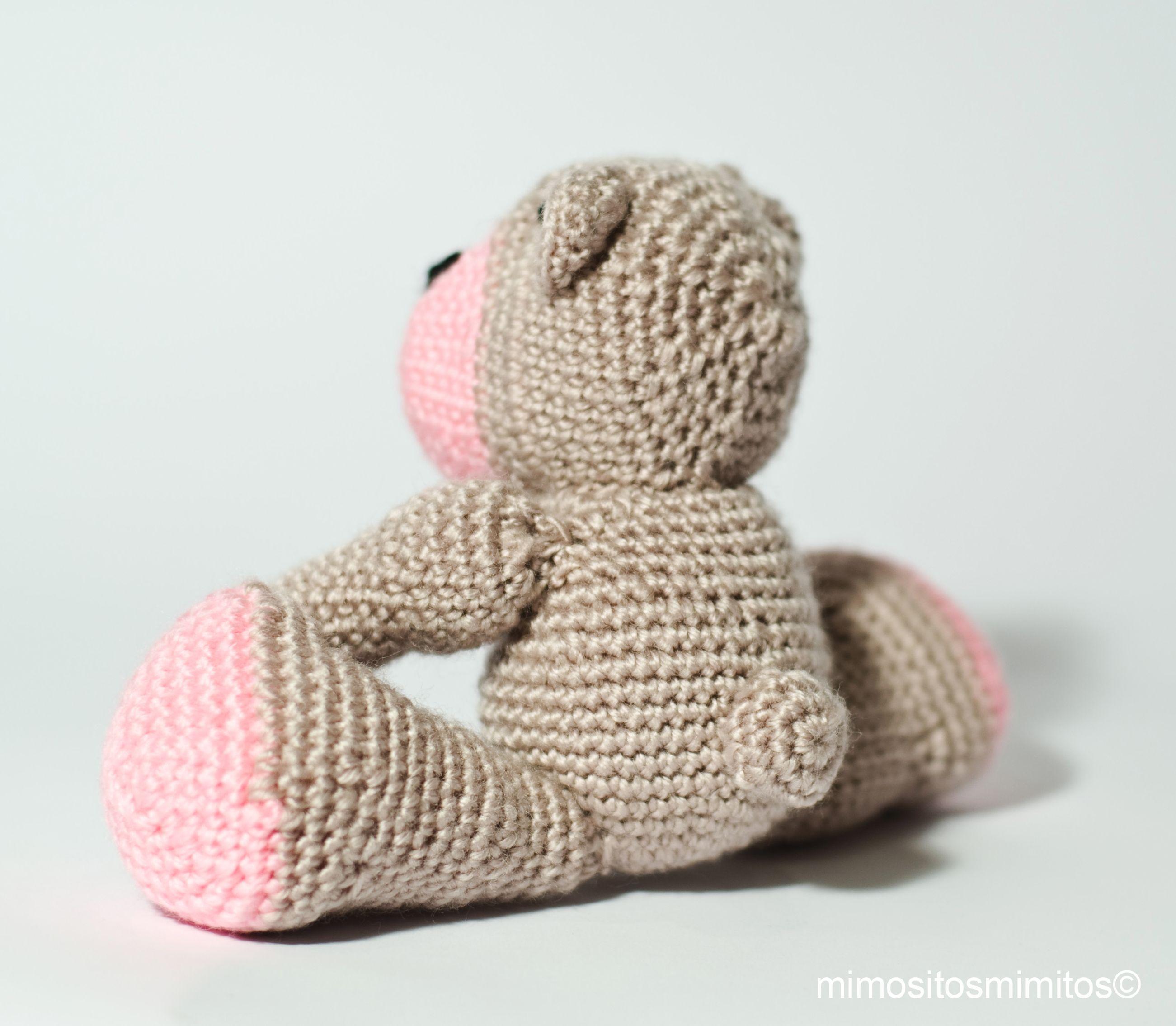 oso osito amigurumi lana ganchillo crochet marrón rosa bear ugly ...