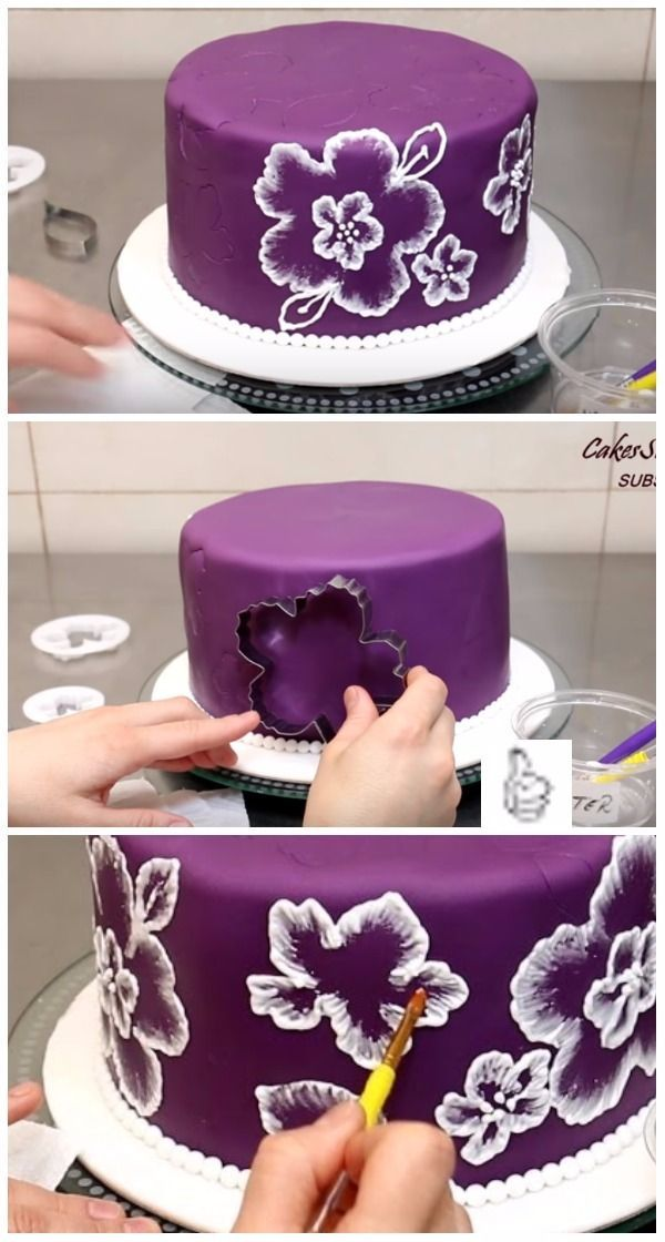 DIY Brush Embroidery Cake Icing - Video - #Brush #cake #DIY #Embroidery #Icing #...