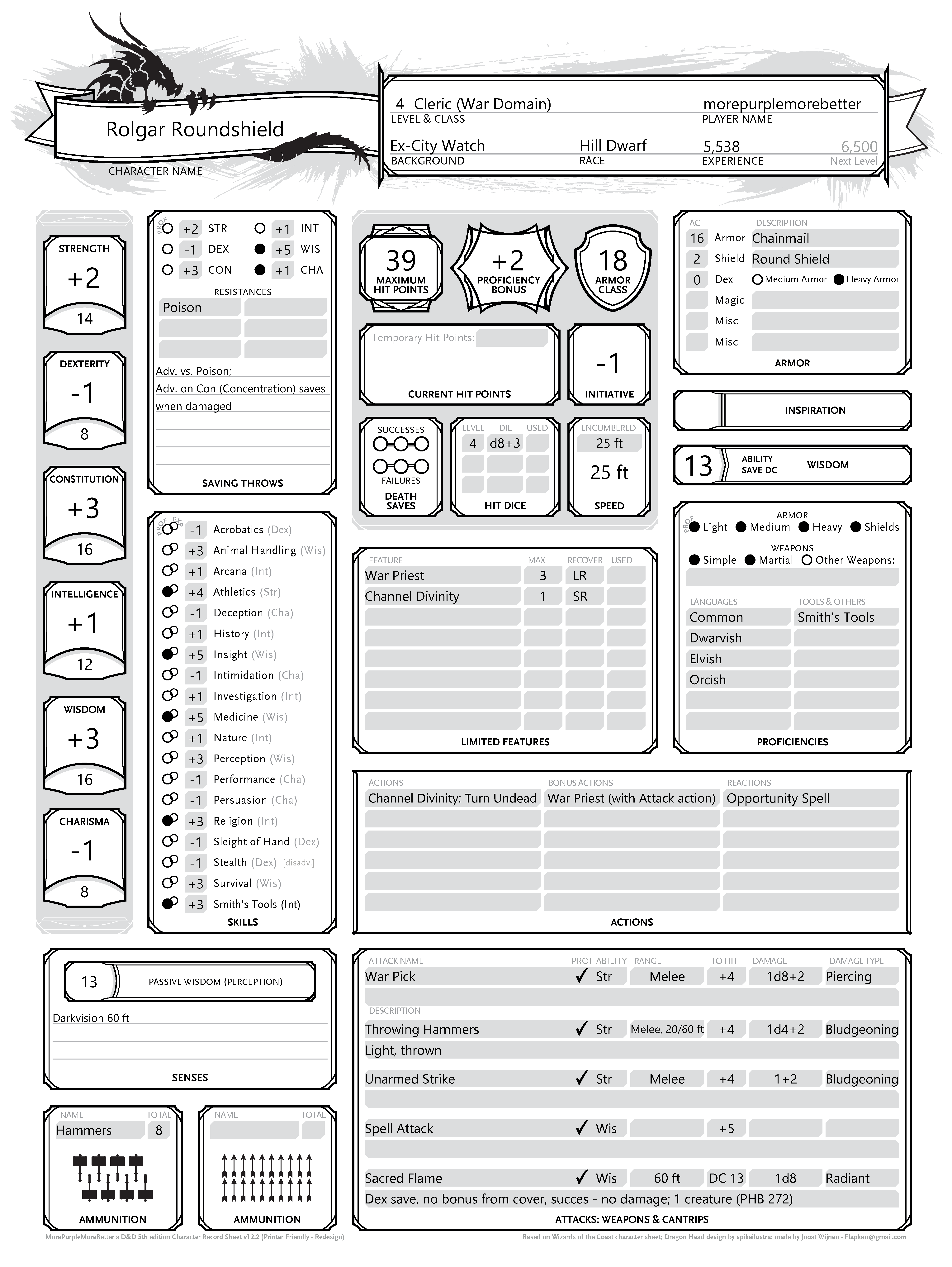 The Front Page Holds All The Essentials Together With The Second Page Thus You Will Only Really Need The Character Sheet Dnd Character Sheet Character Sheets