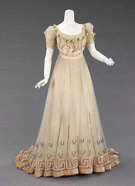 Evening dress Design House: House of Paquin (French, 1891–1956) Designer: Mme. Jeanne Paquin (French, 1869–1936) Date: 1905–7 Culture: French Medium: silk, silver, rhinestones Dimensions: Length at CB: 72 in. (182.9 cm) Credit Line: Brooklyn Museum Costume Collection at The Metropolitan Museum of Art, Gift of the Brooklyn Museum, 2009; Gift of Sarah G. Gardiner, 1941