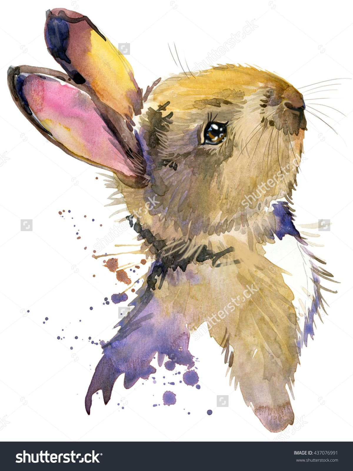 Cute Rabbit Hare Watercolor Animal Wild Animal Forest Animal