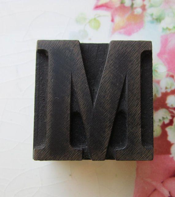 Bookshelf Decor | Wooden Antique Letterpress Block Letter | Preserve Cottage | Etsy | $12