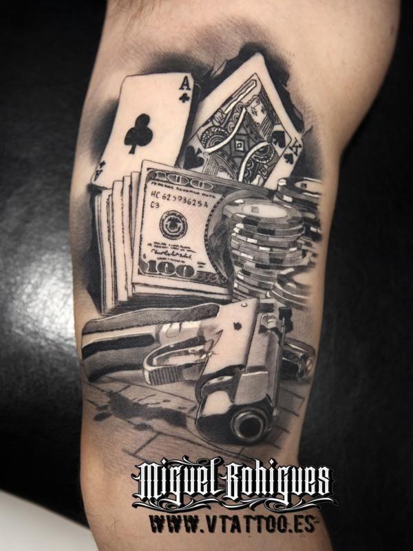 Tatuaje Cartas De Poker Miguel Bohigues Vtattoo Tattoo Poker