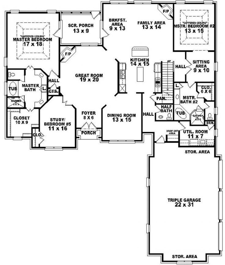 654269 4 Bedroom 3 5 Bath Traditional House Plan With Two 2 Master Suites 5 Bedroom House Plans Bedroom Floor Plans Traditional House Plans