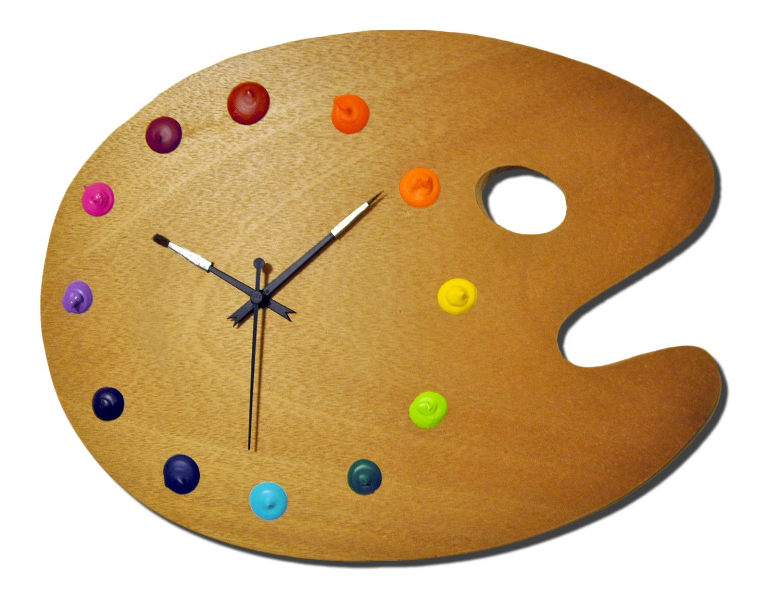 artist palette wall clock with real paint globs for the. Black Bedroom Furniture Sets. Home Design Ideas