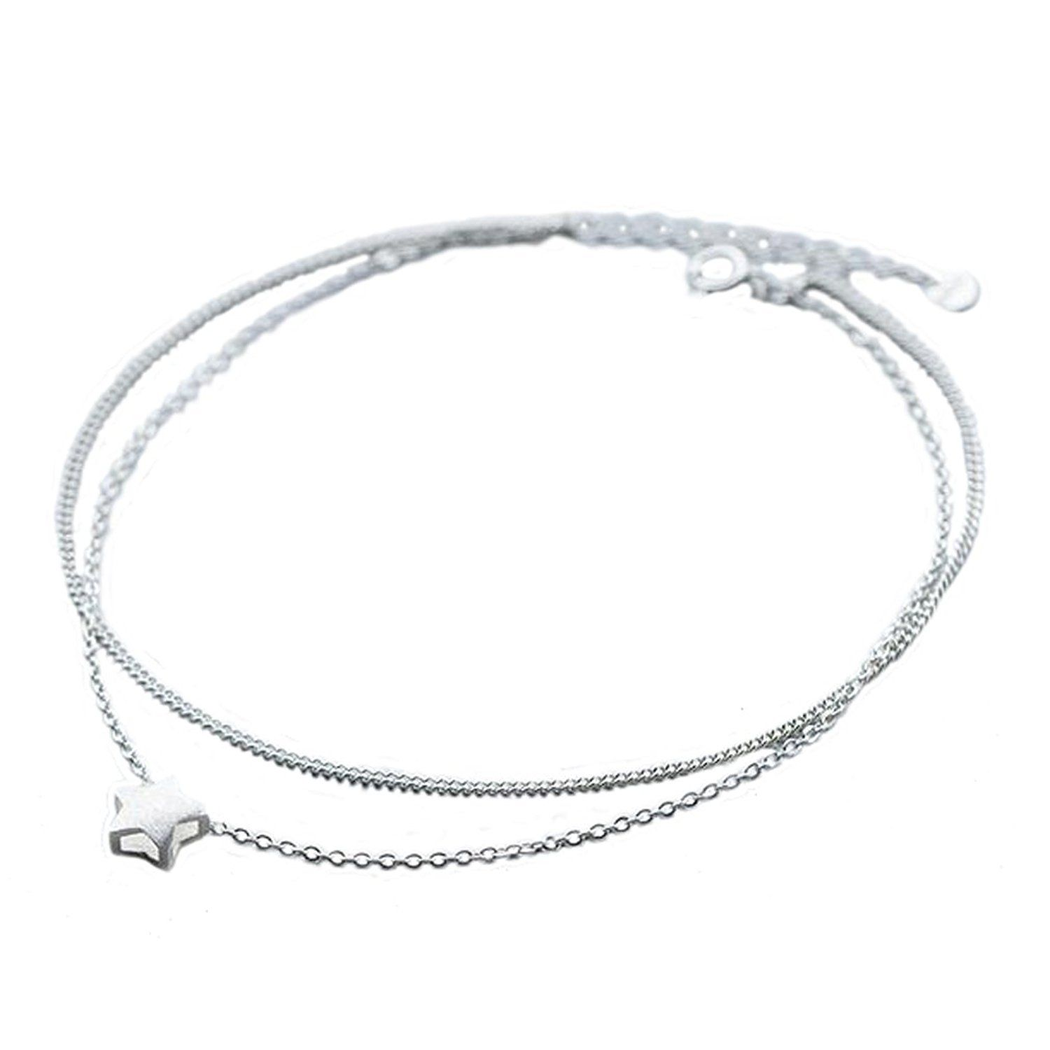 Uniqueen Heart with Heart Ankle Bracelets 925 Sterling Silver Sexy Lucky Love Anklet Chain Beach Girl qO2tWssay