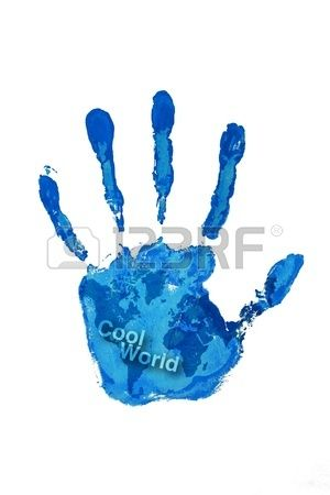 Hand print blue color on world map