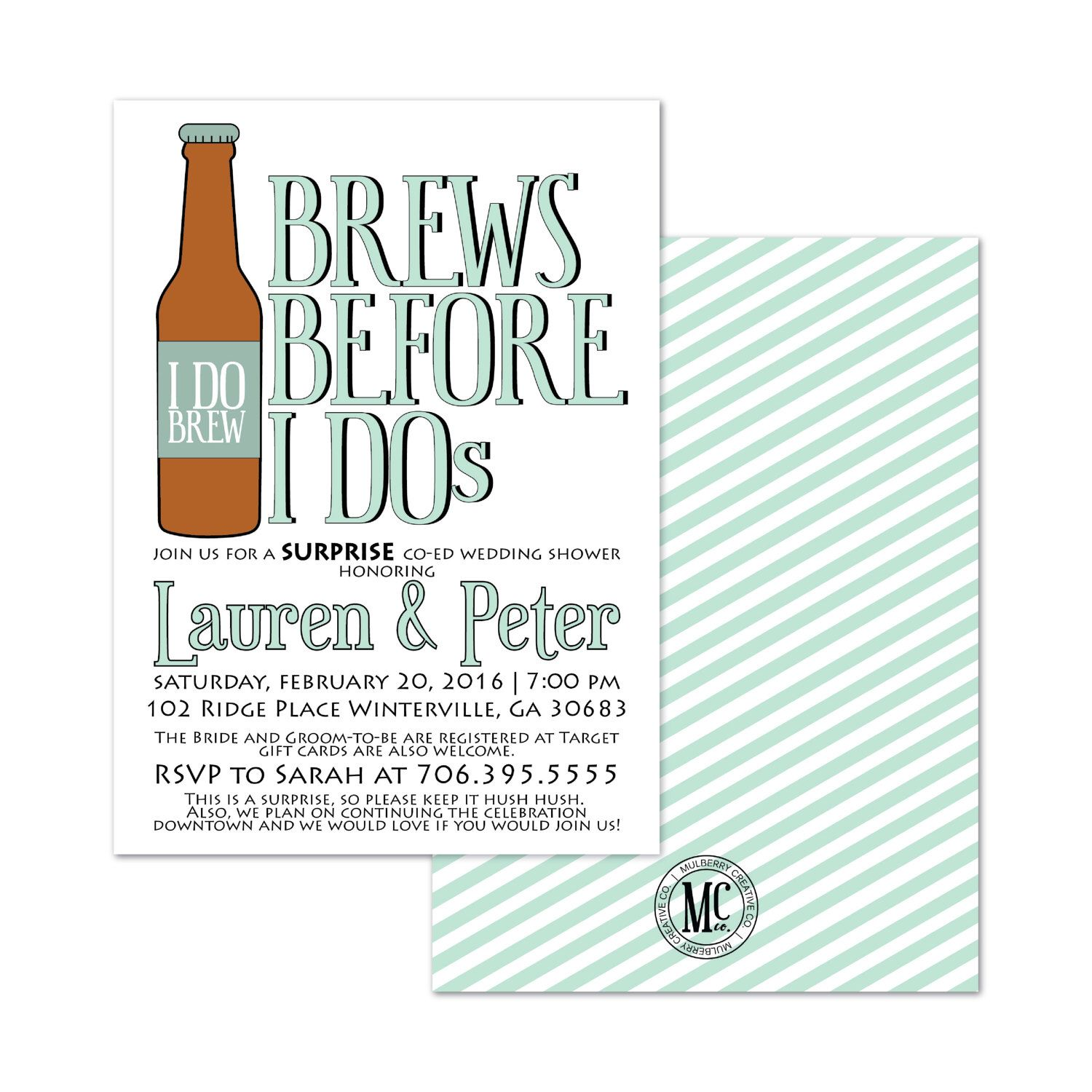 Brews Before I Dos Bridal Shower Invitation S Bride And Groom By