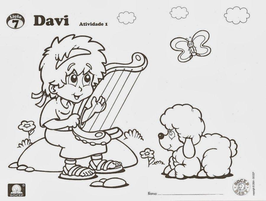 escola dominical infantil atividade davi tocando a harpa louvor