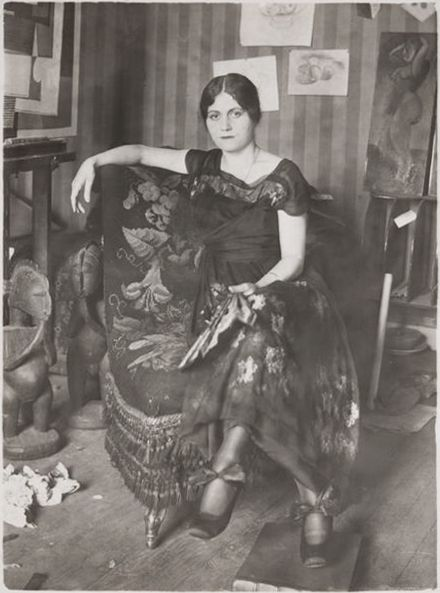 1918 Olga Khokhlova, 1st wife of PP (Pablo Picasso) in Montrouge Studio (Paris) | In 1917 ballerina Olga Khokhlova (1891~1955) met Picasso while the artist was designing the ballet 'PARADE' in Rome. They married in the Russian Orthodox church in Paris in 1918 and lived a life of conflict: she was of high society and enjoyed formal events while Picasso was more bohemian. Their son Paul (Pavel) was born in 1921 (died in 1975), influencing Picasso's imagery to turn to mother and child themes.