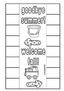 Goodbye Summer! Welcome Fall! Free Interactive Notebook