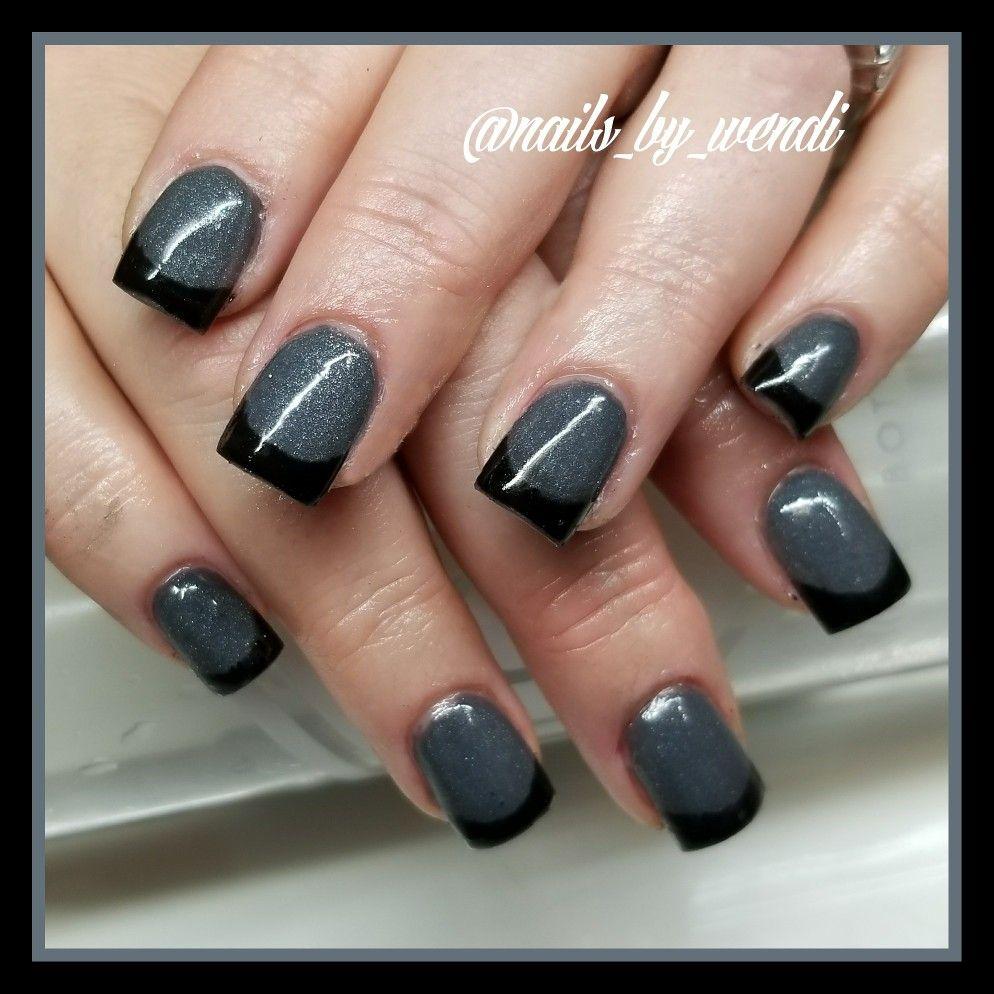 Dark French Manicure Asphalt Grey And Black Tips Nails 2018