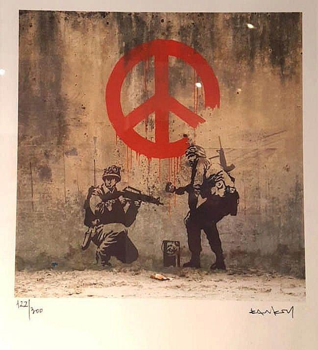 BANKSY - Peace - Lithographie numérotée 122/300 - Certificat d ...