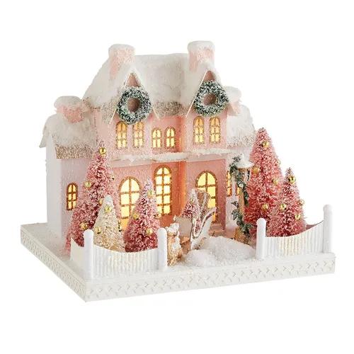 Nostalgic Village Pink House With Yard
