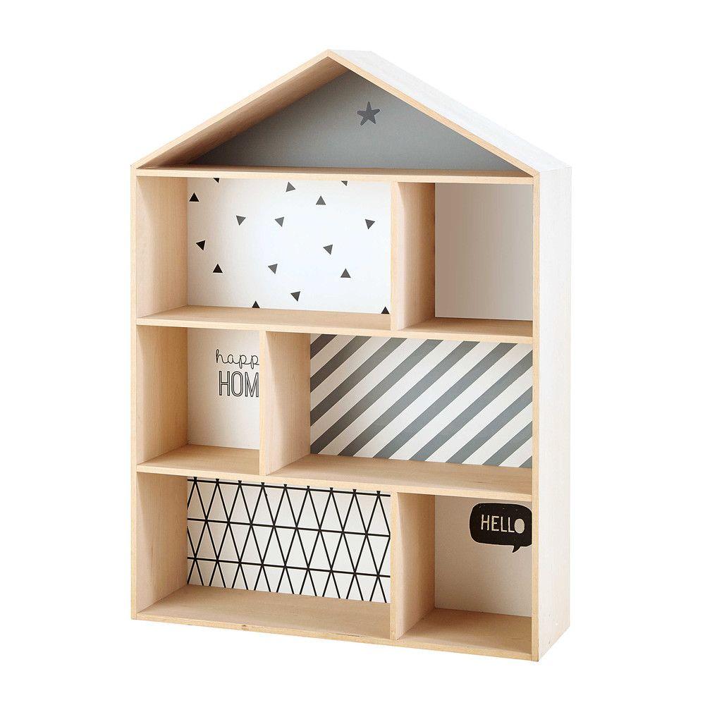 Bibliothèque maison enfant en bois L 102 cm Graphikids | Maisons du ...