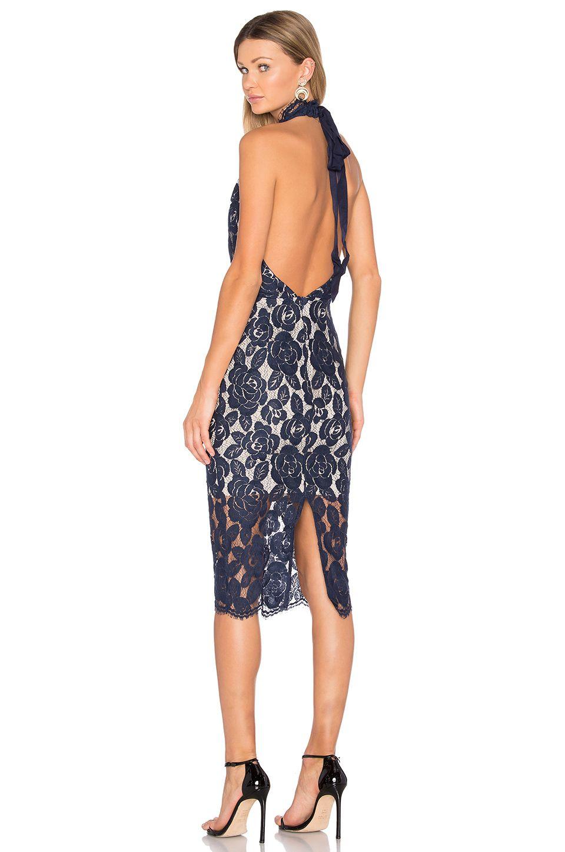 Lover Rosebud Ruffle Halter Midi Dress en Azul marino | REVOLVE