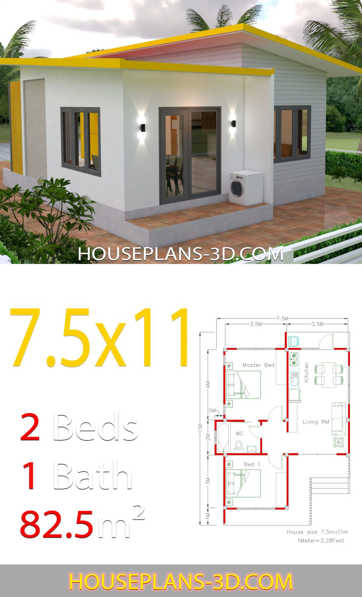 House Plans 7.5x11 with 2 Bedrooms Full plans ในปี 2020