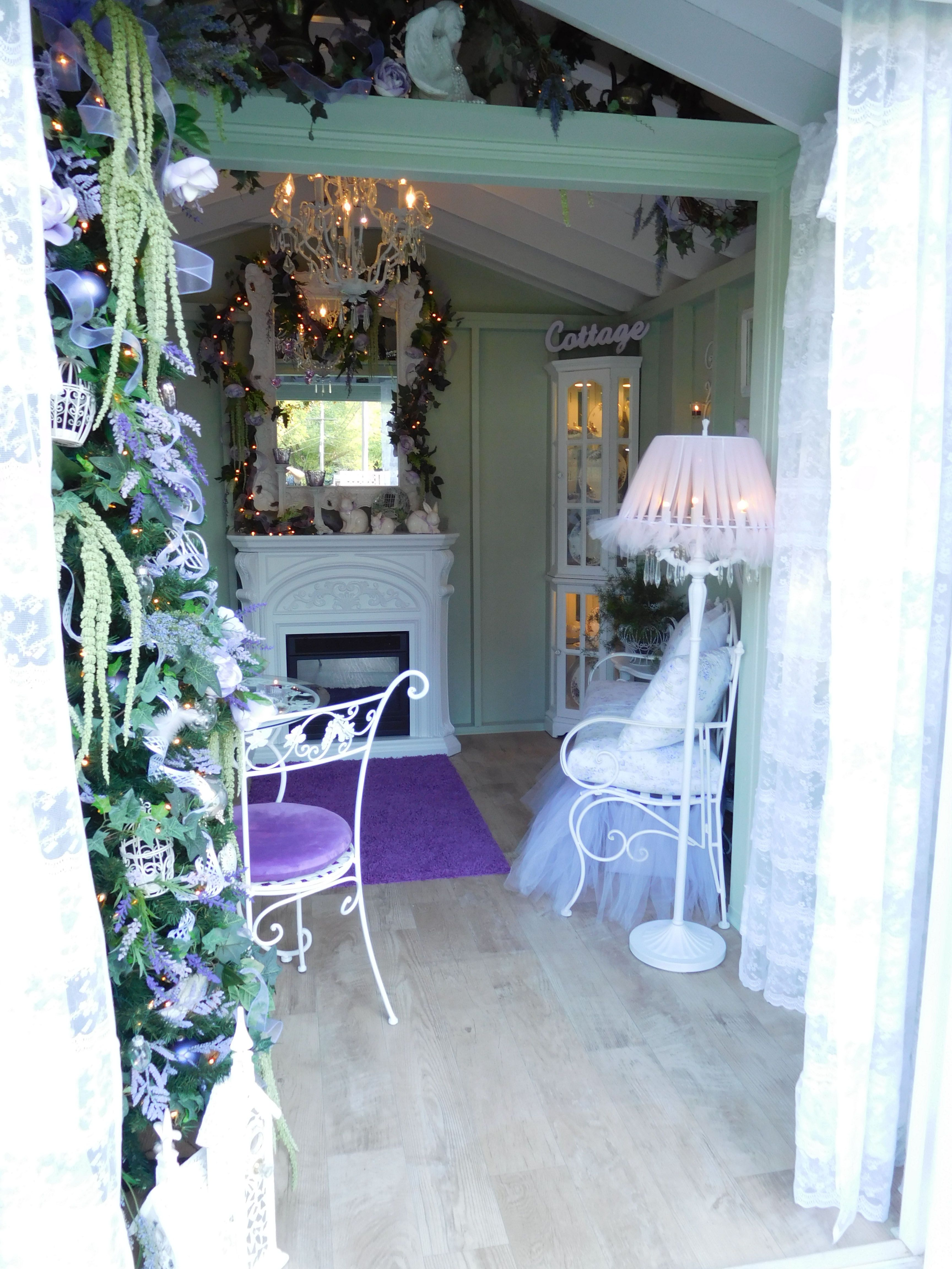 Pinterest Shabby Chic Garten Inside A Romantic Purple Shabby Chic She Shed All My