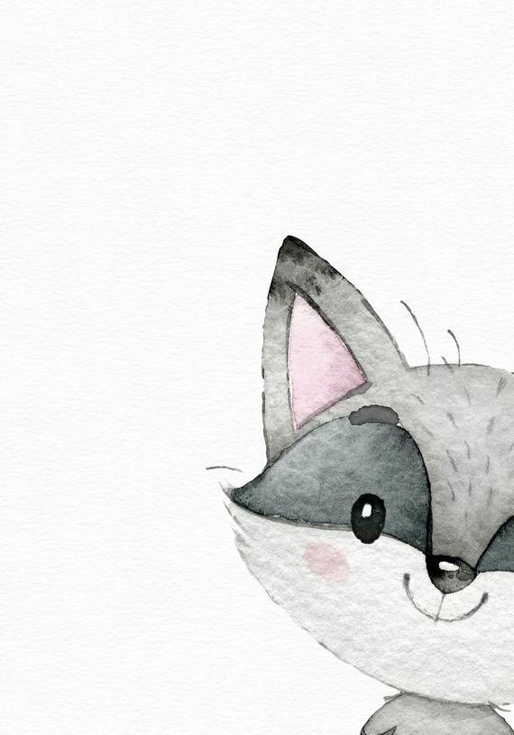 Woodland animal art – Watercolor raccoon print – Woodland nursery – Nursery wall art – Cute baby girl art – Watercolor nursery – Baby room