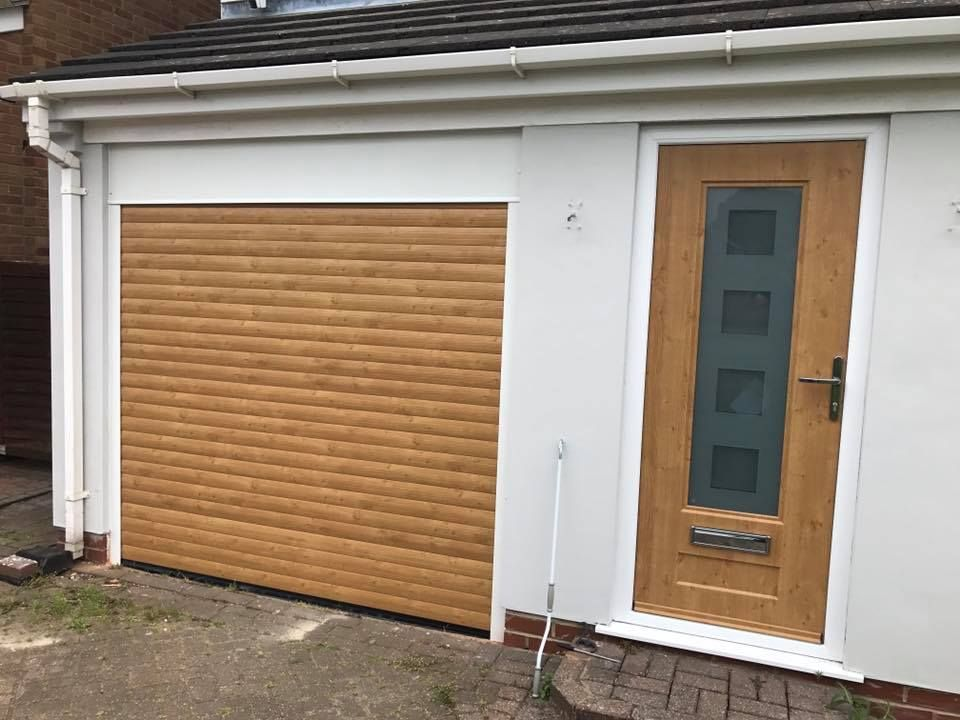 Irish Oak Insulated And Remote Roller Garage Door White Frame , Fitted In  Northampton Matching Composite