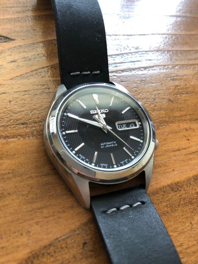 Seiko 5 Snkl23 Wrist Watch W Leather Colareb Strap J Version