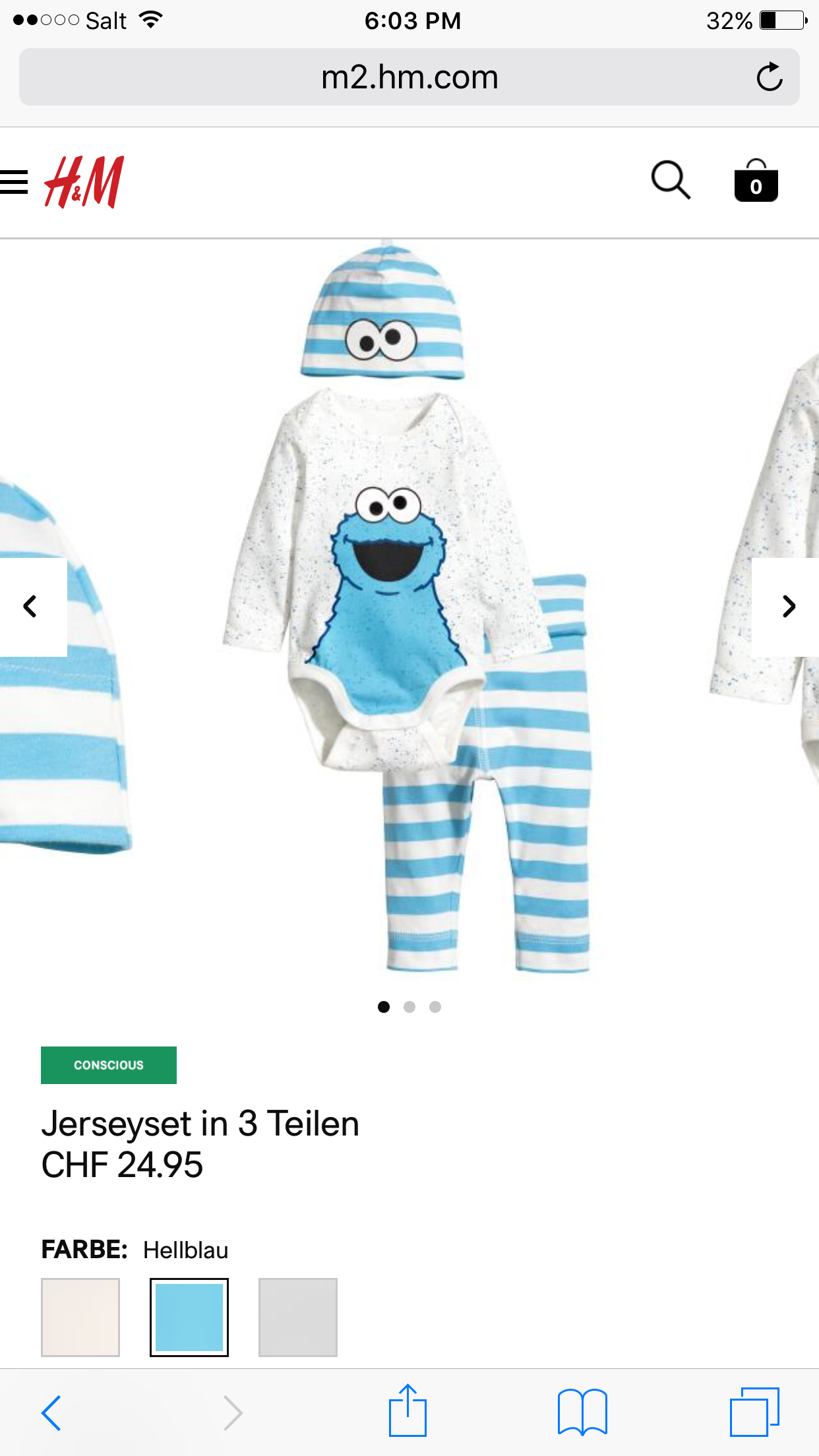 3 pce Newborn Outfit H&M Cookie Monster Baby Stuff