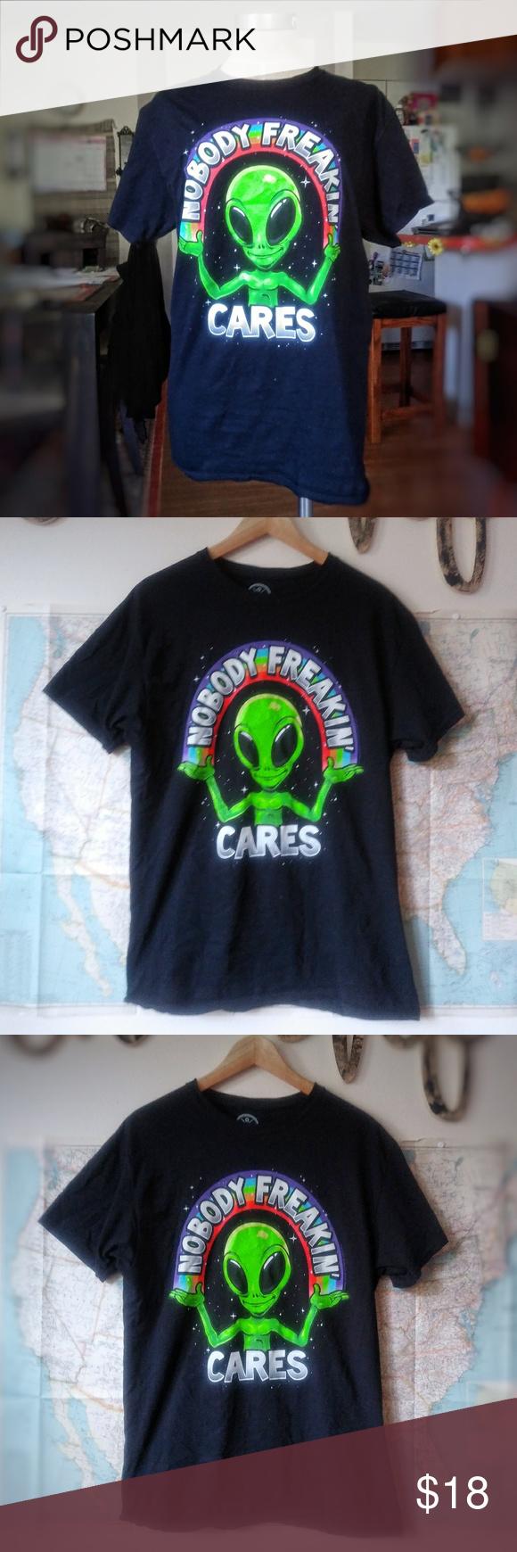 Gothic grunge alternative style alien graphic tee Beautiful neon green alien noalien