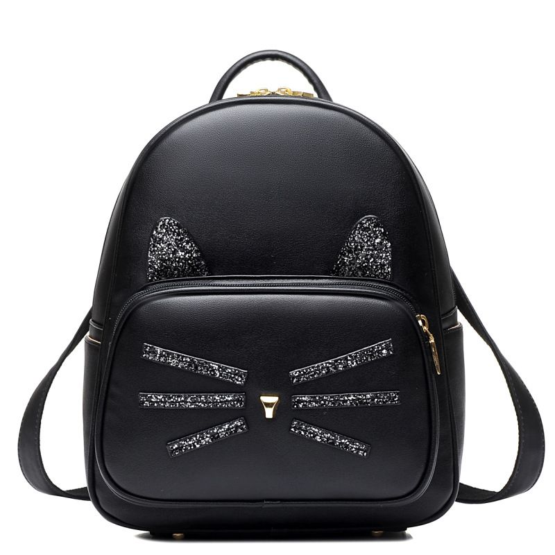 NEW Black Cat Backpack Pu Leather Small Cute Backpacks High School ...
