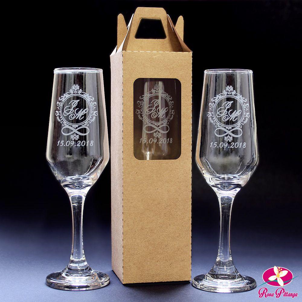b6512ac3b Linda Taça de Champanhe Personalizada para Casamento com Embalagem caixa  sacola em Kraft.