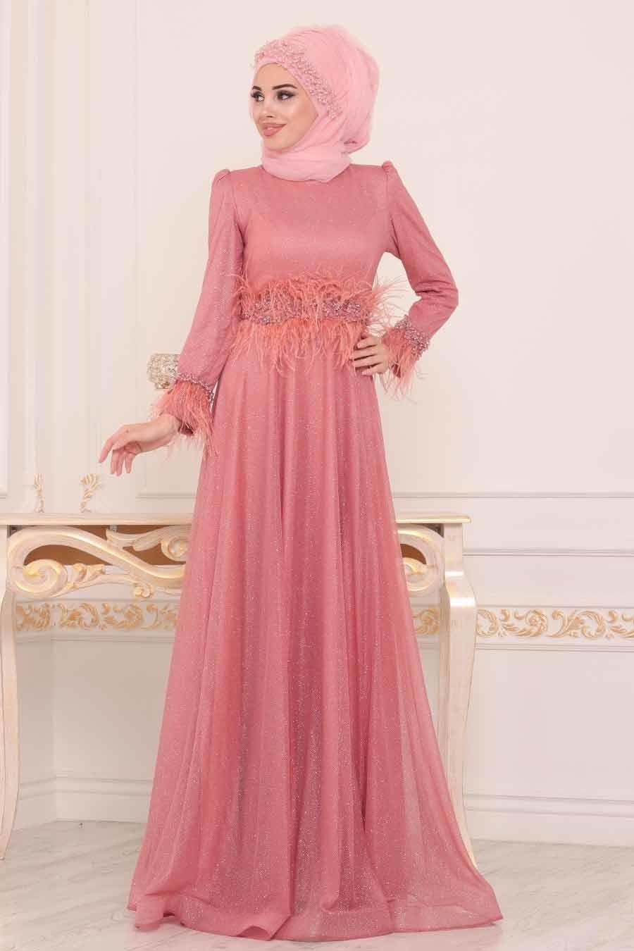 Tesetturlu Abiye Elbise Puskullu Gul Kurusu Tesettur Abiye Elbise 3934gk Tesetturisland Com The Dress Elbise Payet Elbise