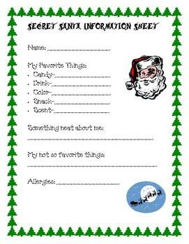 Secret Santa Information Sheet Teacherspayteachers