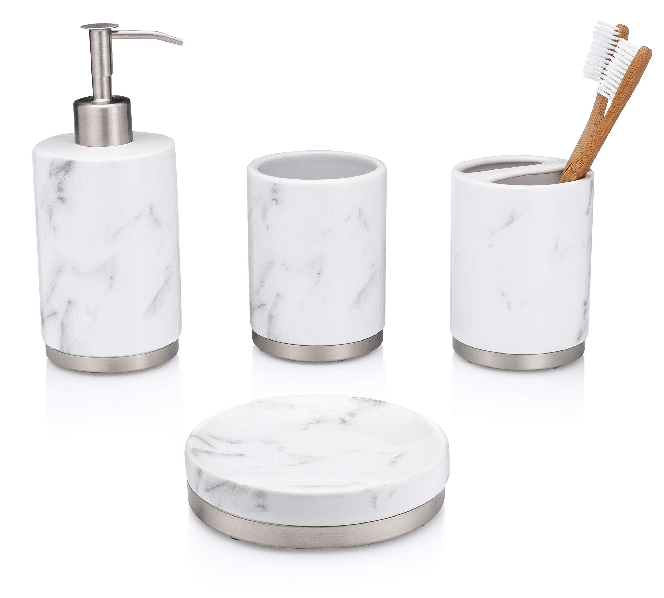 Essentrahome 4 Piece White Ceramic Bathroom Accessory Set With