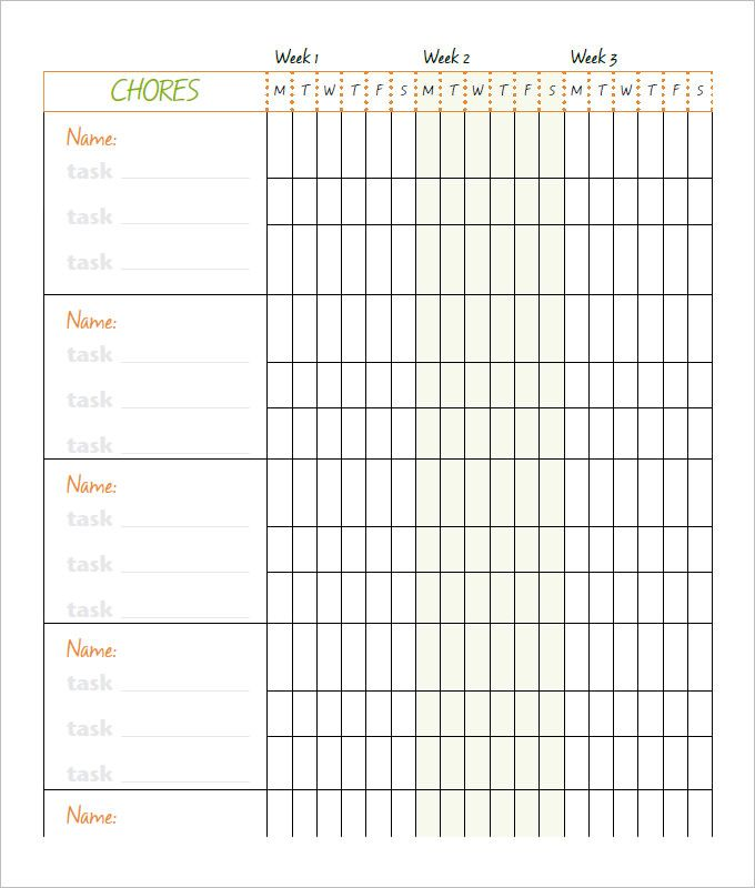 free chore chart template family chore chart template 10 free word