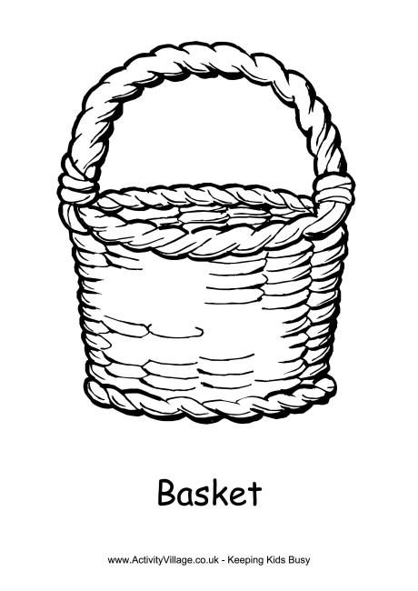 Simple Easter Basket colouring page. Click through to the