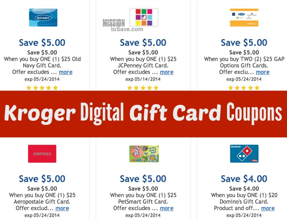 Kroger Digital Gift Card Coupons (Old Navy, JCPenney, Bath & Body ...
