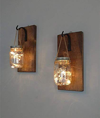 Set of 2 Rustic Hanging Mason Jar Sconces, Wrought Iron Hooks, Hanging Lighted Mason Jar Wall Sconces images