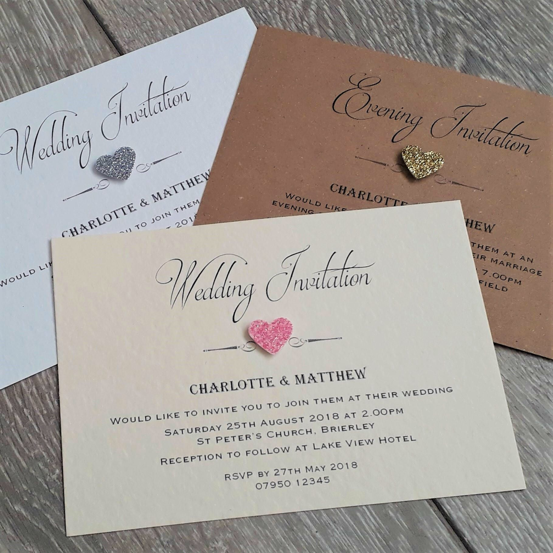 10 wedding invitations or evening invites with envelopes ...