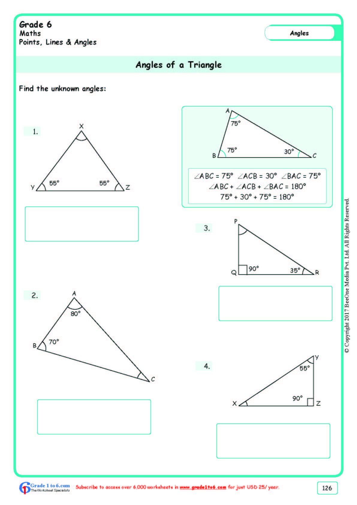 Worksheet Grade 6 Math Angles Of A Triangle In