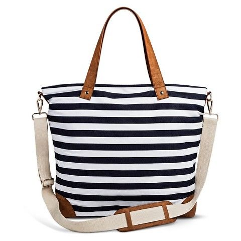 Women's Striped Canvas Tote Handbag with Removeable Crossbody ...
