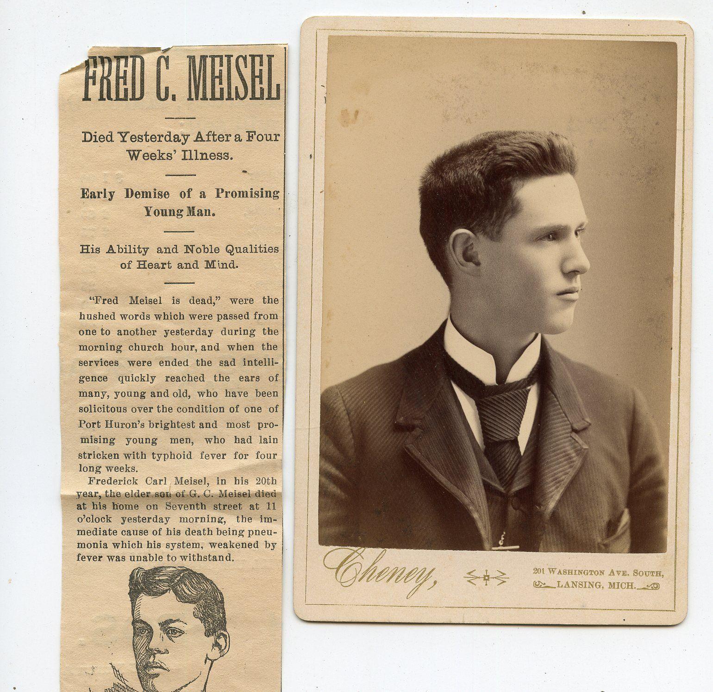 Cabinet Card Vintage Photo Handsome Young Man Obit Lansing