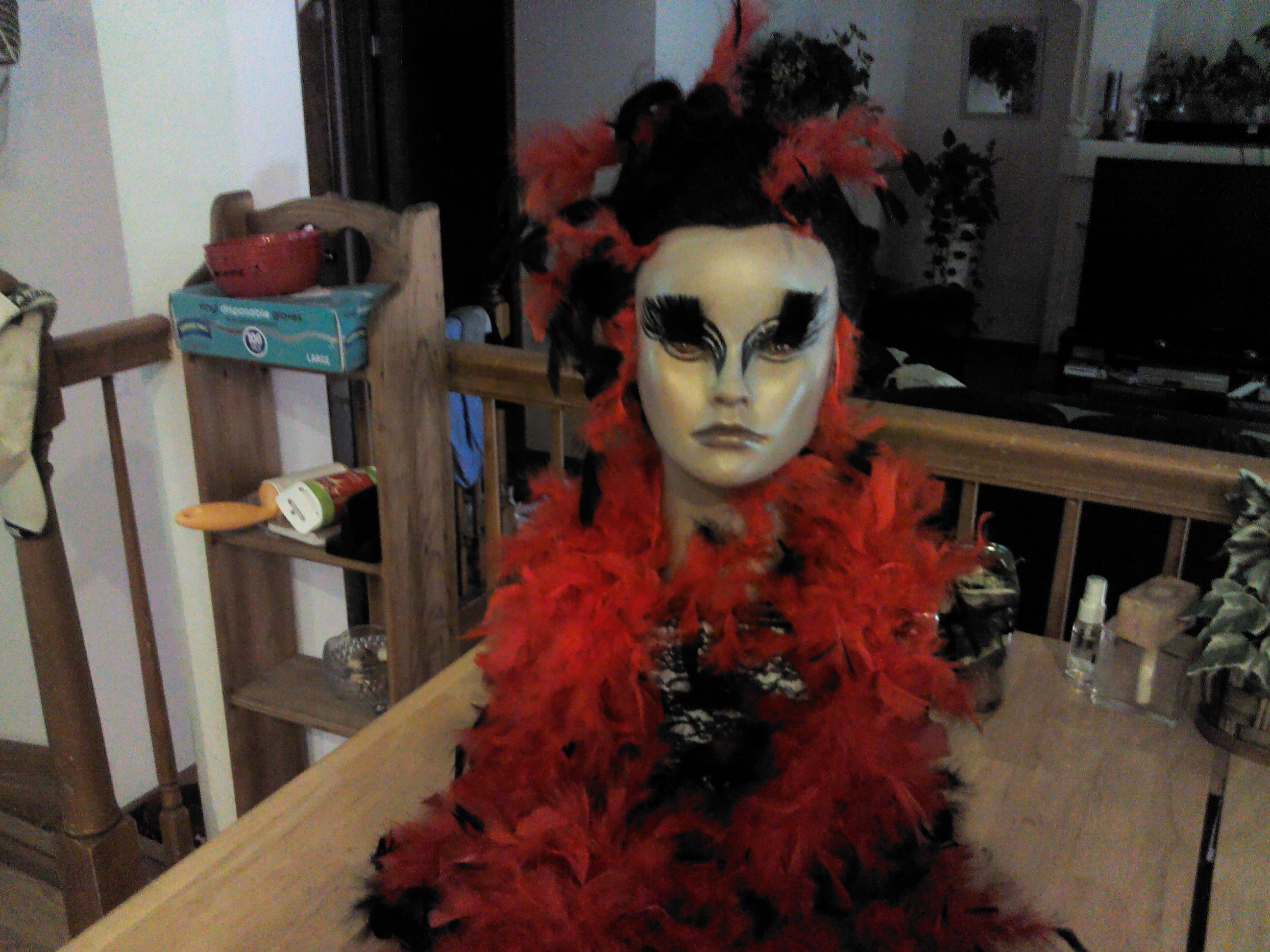 RED SWAN, Hair design and makeup,done by me at School.....