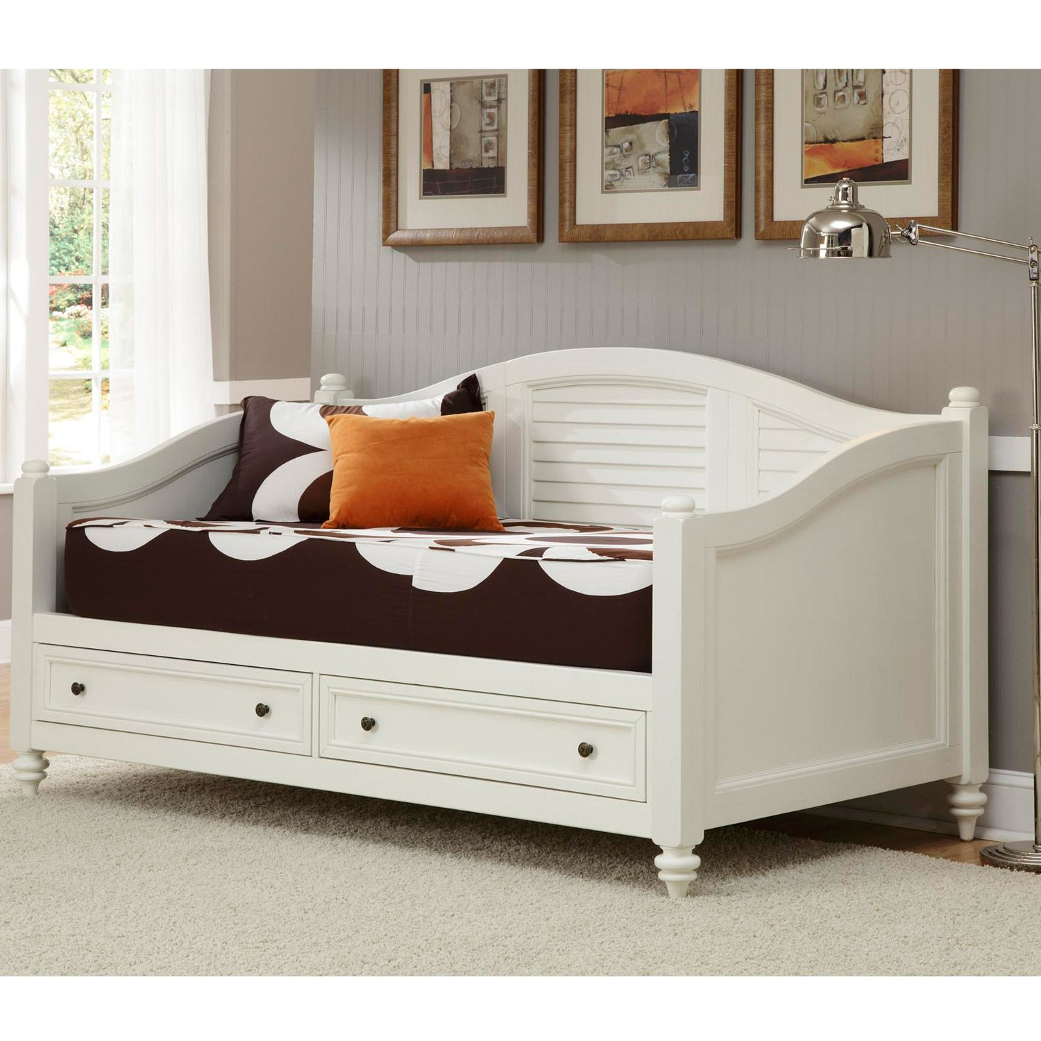 A Day Bed Part - 28: Bermuda Brushed White Finish Twin-size DayBed - Overstock Shopping - Great  Deals On Beds