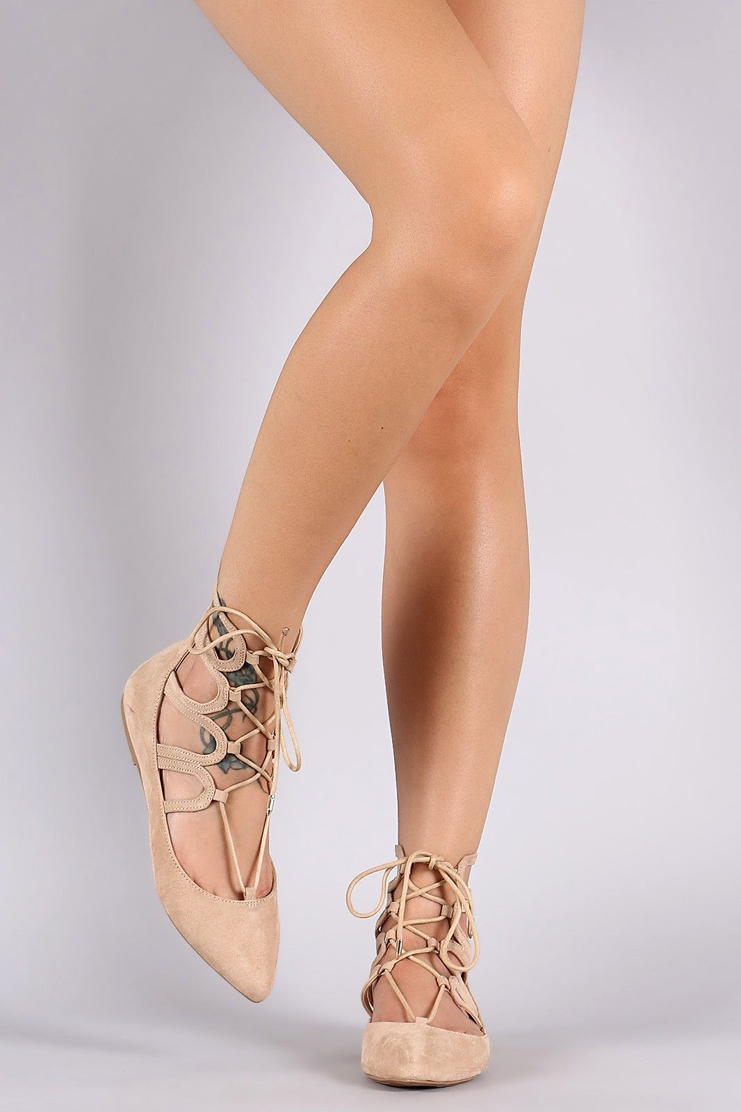 Wild Diva Lounge Pointy Toe Lace Up Ballet Flat | Products by g.e. ...