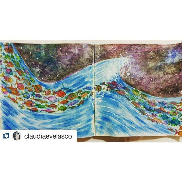 Instagram media desenhoscolorir - Como uma onda no mar! By  @claudiaevelasco ・#lostocean #desenhoscolorir #johannabasford #oceanoperdido #adultcoloringbooks