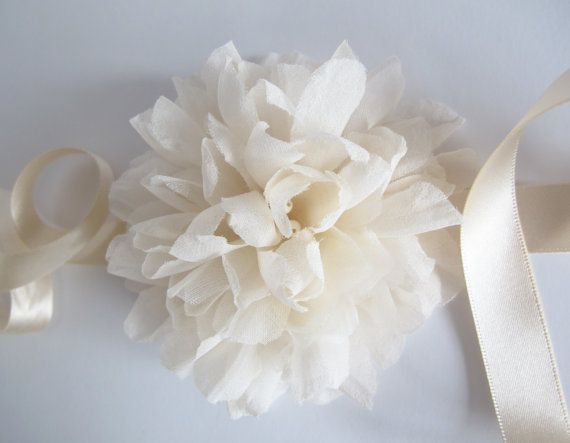 Large silk flower wrist corsage with ribbon by LucyFisherDesigns