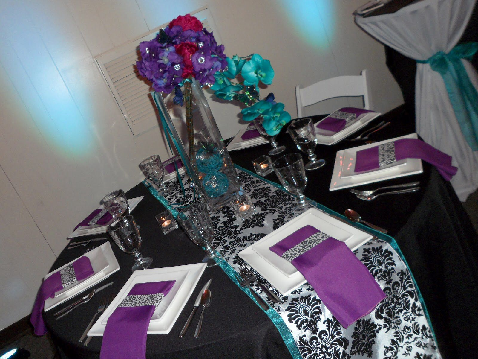 Purple Teal Black And White Table Decorations