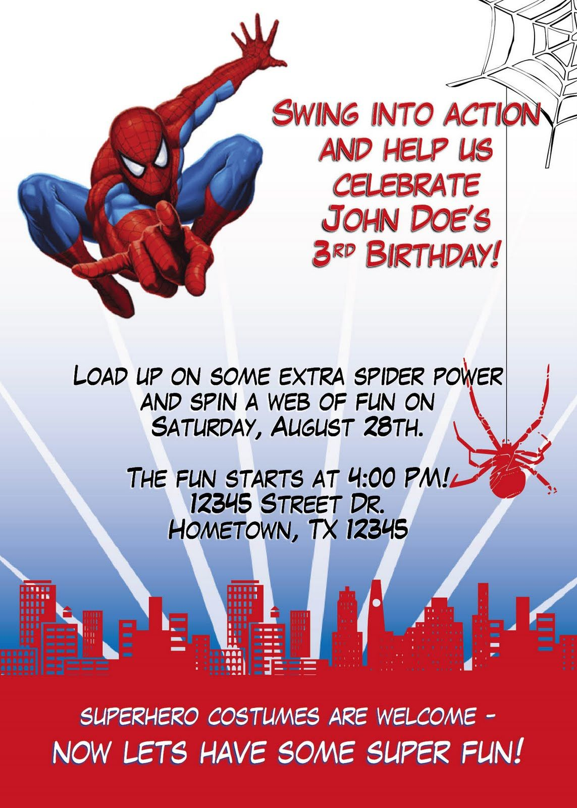 Spiderman birthday party leslie designs stuff spiderman for Where can i buy party invitations