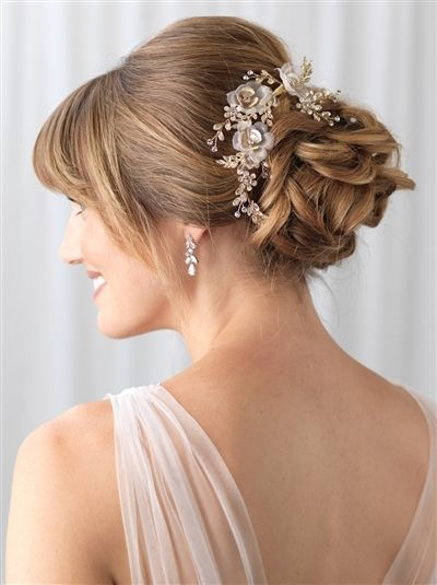 Photo of Gold Tulle and Floral Wedding Hair Clip