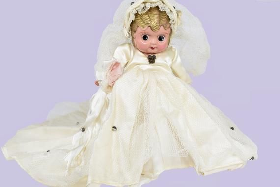 Vintage 1920's Celluloid Kewpie Wedding Bride Doll Gift Bridal Shower Decor and Table Decorations Co #bridedolls